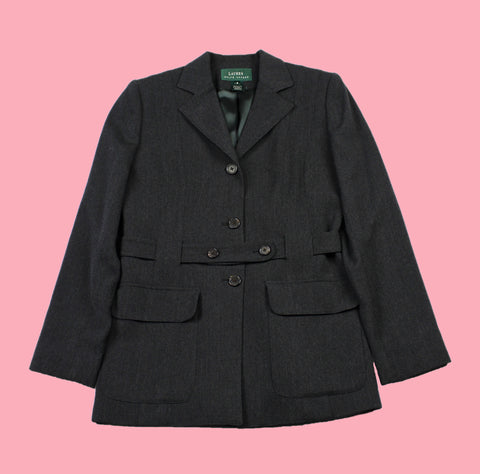 Lauren Ralph Lauren 3-Button Belted Worsted Wool Jacket Made in USA WOMENS Size 6