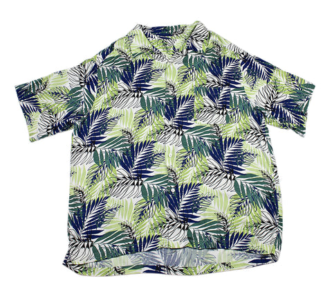 Vintage 90s Leaf Print Hawaiian Shirt in White/Blue/Green Mens Size XL