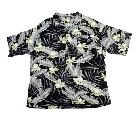 Vintage 90s Black/Gray/Yellow Rayon Hawaiian Shirt Mens Size Large