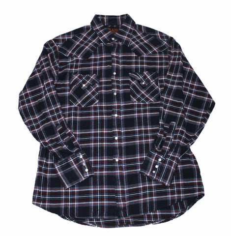 Vintage 90s Navy/Maroon Western Plaid Pearl Snap Shirt Mens Size Large