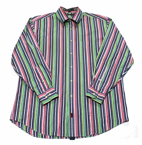 Tommy Hilfiger Navy/Pink/Green Striped Button Down Shirt Mens Size Large