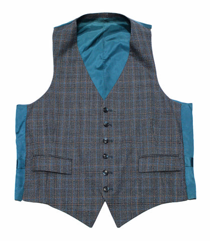 Vintage Plaid Teal Vest Mens Size Small