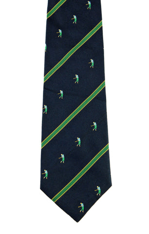 Giorgio Passigatti Navy Blue Golfer Golf Print Silk Necktie Made in Italy
