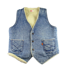 Vintage 1980s Levis Sherpa Lined Denim Vest Made in USA Mens Size Small