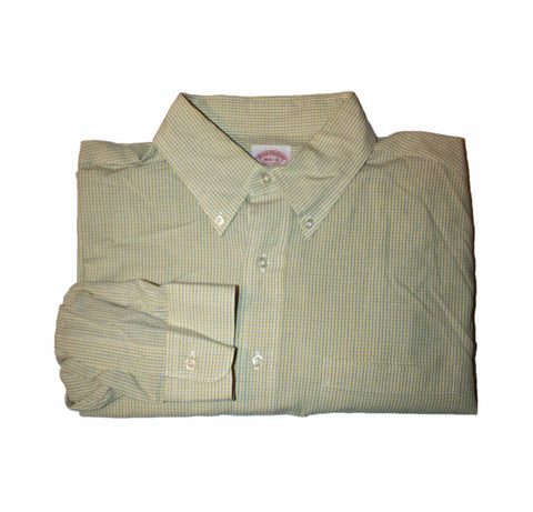 Vintage Yellow Brooks Brothers Button Down Dress Shirt Mens Size 16 1/2 - 3 (Large)