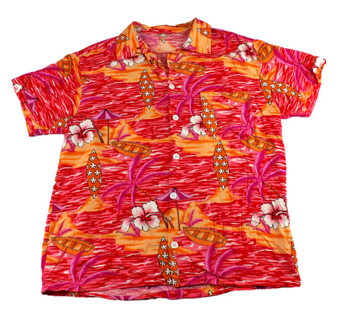 Vintage 90s Orange/Red/Pink Island Scene Hawaiian Shirt Mens Size Small