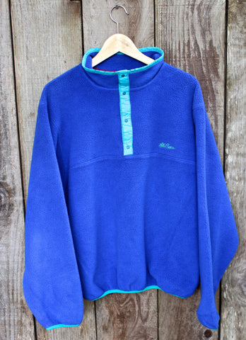 Vintage 90s L.L.Bean Purple Fleece Jacket Made in USA Mens Size Medium