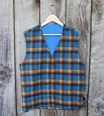 Vintage 1970s Blue/Orange Wool Vest Mens Size Medium