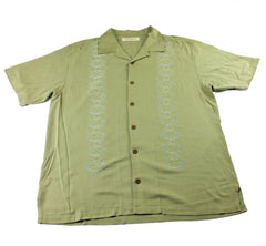 Tommy Bahama Olive Green Embroidered Silk Hawaiian Shirt Mens Size Large