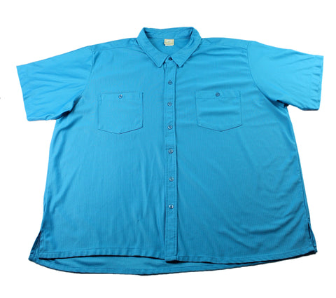 Vintage 1980s Teal Polyester Mesh Button Up Shirt Mens Size 3XL