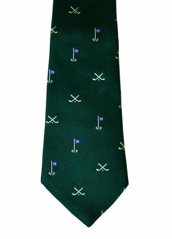 Vintage J Press All Silk Green 19th Hole Necktie Made in England