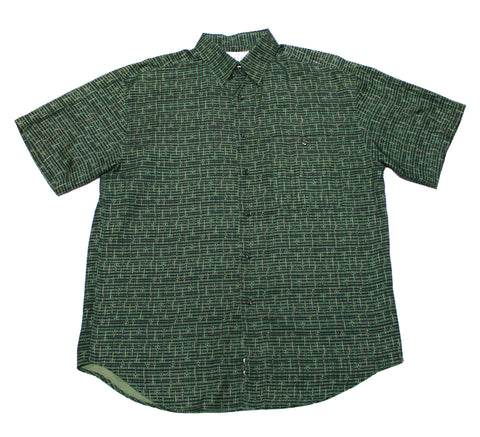 Vintage 90s Green Silk Button Up Shirt Mens Size Large