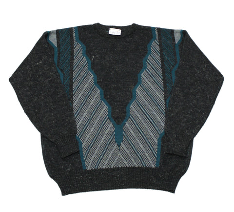 Vintage 90s Black/Gray/Teal Sweater Made in UK Mens Size Large