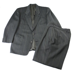 Vintage HUGO BOSS 2-Button Pinstripe Dark Gray Suit Jacket 42S / Pants 33x28