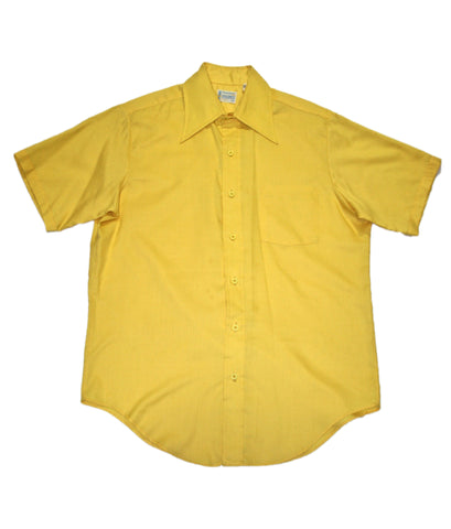 Vintage 70s Yellow Polyester Penneys Towncraft Button Up Shirt Mens Size 16-16 1/2 (Large)