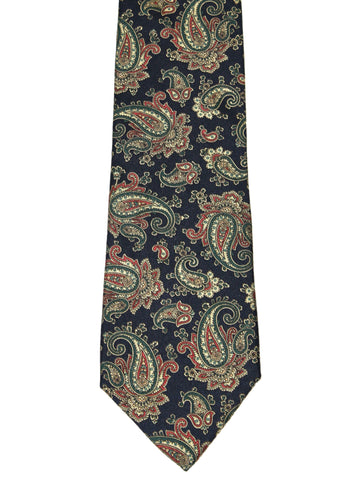 Vintage 90s Blue Paisley Print All Silk Necktie Made in USA