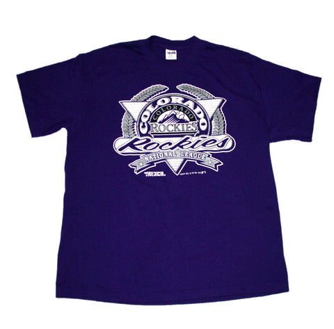 Vintage 1991 Colorado Rockies National League Purple Shirt Made in USA Mens Size Large