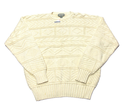 Vintage 90s Deadstock Cream Cable Knit Sweater Made in USA Mens Size Large
