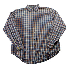 Timberland Navy Blue Plaid Work Shirt Mens Size Large