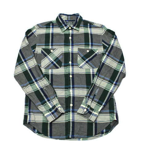 Vintage J.Crew Sporting Goods Blue/White/Green Plaid Button Up Shirt Mens Size Small