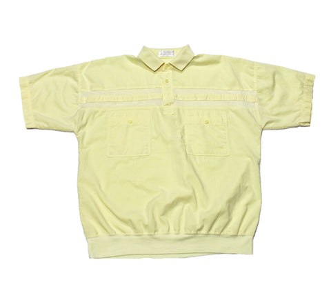 "Vintage 1980s Yellow 1/4"" Button Up Shirt Mens Size Large"