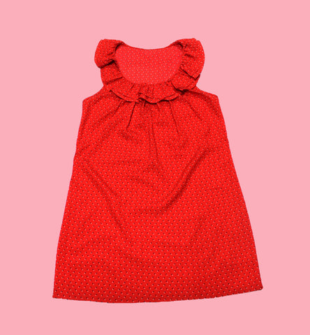 Vintage Red Polyester Polka Dot Dress WOMENS Size Small