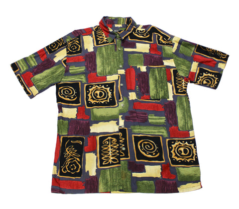 Vintage 90s All Over Print Button Up Shirt Mens Size Large