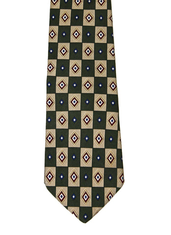Vintage Brooks Brothers Makers Green/Tan All Silk Necktie Made in USA