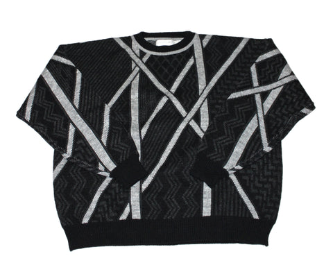 Vintage 90s Black/Gray Striped Acrylic Sweater Mens Size XL