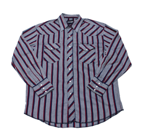 Vintage 90s Wrangler Pearl Snap Striped Chambray Button Up Shirt Mens Size Large