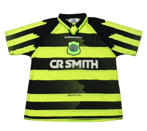 Vintage 1996 Celtic Glasgow UMBRO CR SMITH Neon Yellow Soccer Jersey Mens Size Large