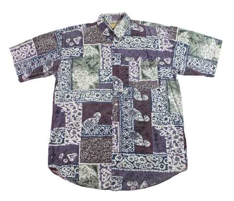 Vintage 90s Purple/White/Blue Hawaiian Style Button Up Shirt Mens Size Large