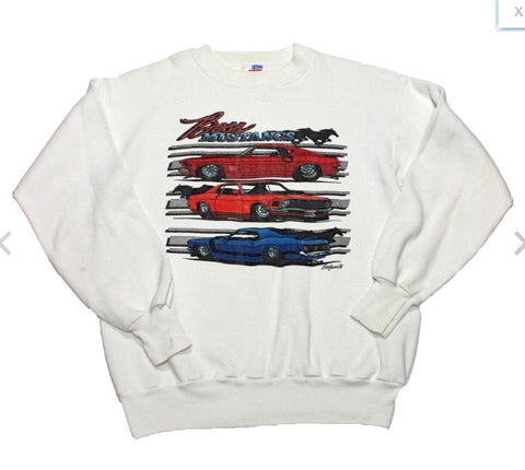 Vintage 1988 Ford Boss Mustangs Crewneck Sweatshirt Made in USA Mens Size Small