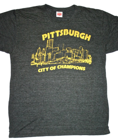 Homage Pittsburgh Steelers City of Champions Gray Shirt Made in USA Mens Size Large