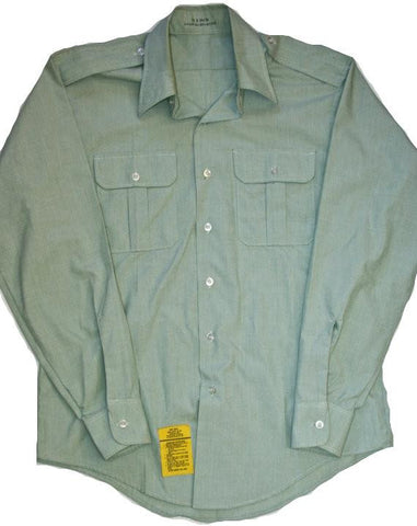 Vintage Mens Green Uniform Style Button Up Shirt Mens Size 16 (Large)