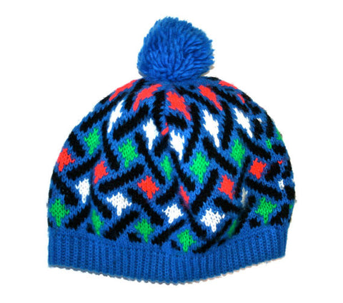Vintage Skiing / Snowboarding Blue Knit Pom Beanie