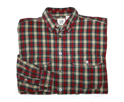 Vintage Gap Heavy Red Plaid Button Down Shirt Mens Size Medium