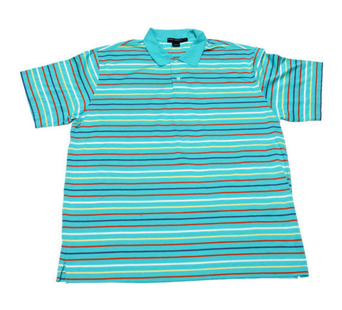 Vintage 90s Daniel Cremieux Teal Striped Polo Shirt Mens Size XL