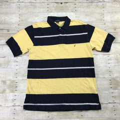 Nautica Navy Blue/Yellow Striped Polo Shirt Made in Canada Mens Size Large