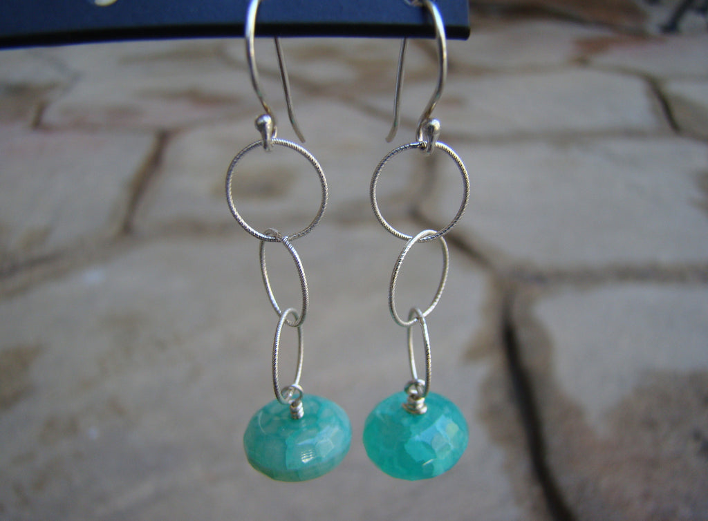 Earrings-dangly silver greens