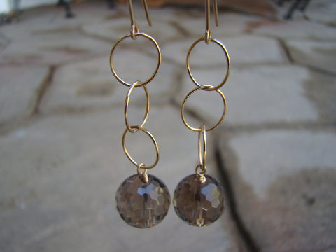 Earrings-dangly goldfilled browns