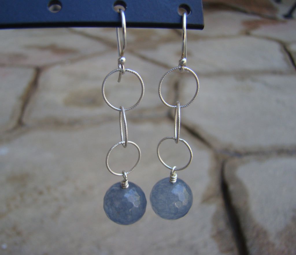 Earrings-dangly silver grey