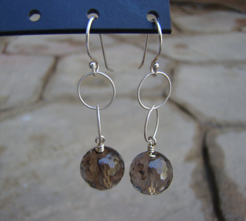Earrings-dangly silver browns