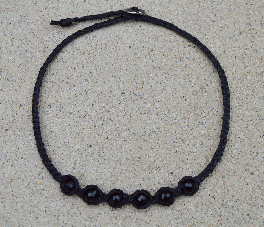 Braided black linen necklace