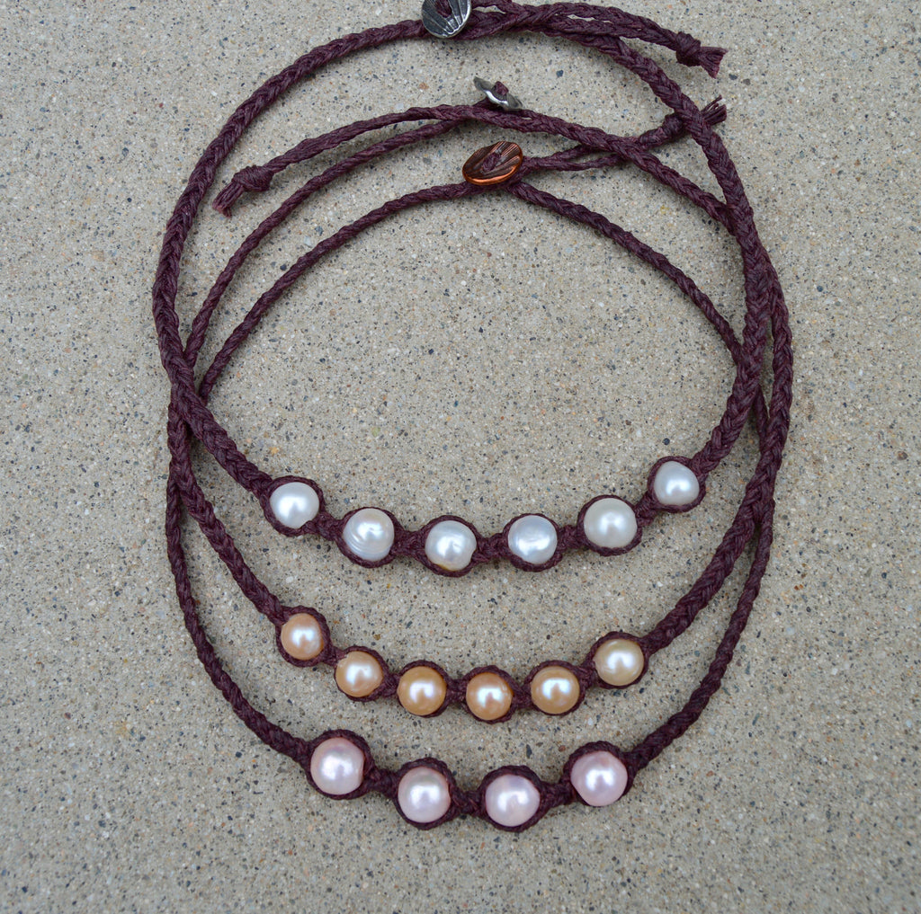 Braided brown linen necklace