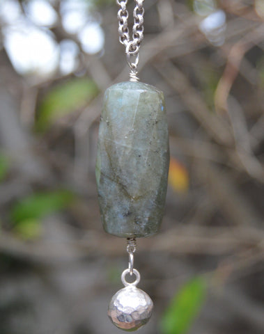 Long Sterling silver chain with Labradorite pendant