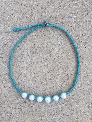 Braided turquoise linen necklace