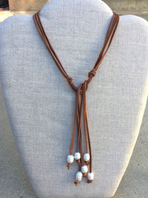 Brown Suede wraparound necklace