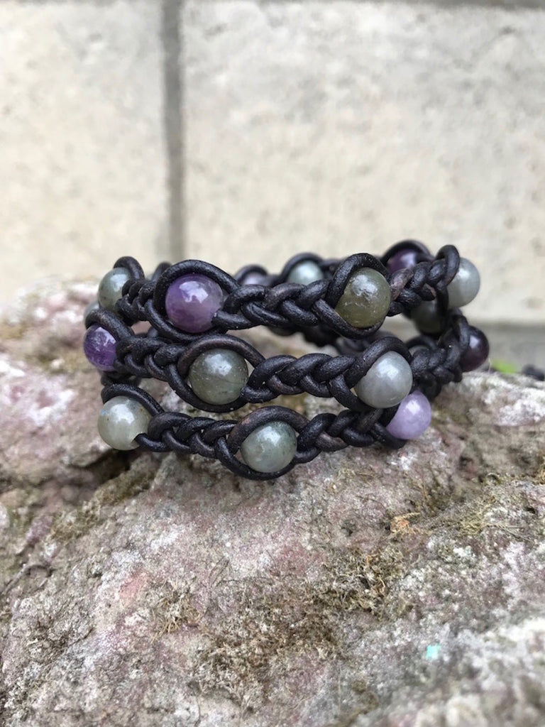 Braided wraparound bracelet with gems