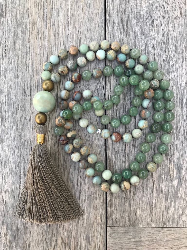 Yoga necklace with silk tassel